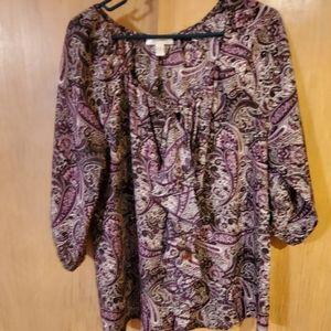 Dress barn 1x purple paisley ruffled blouse